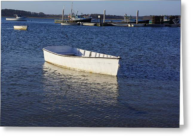 Boats In Harbor Greeting Cards - Lonesome Greeting Card by Allen Foley