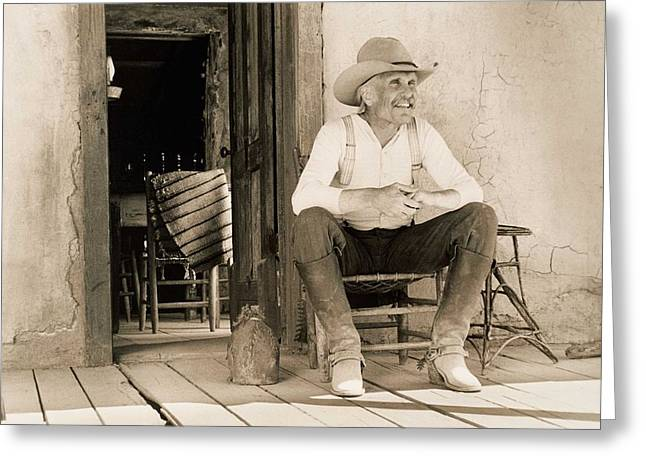 Lonesome Dove Gus On Porch Signed Print Greeting Card by Peter Nowell
