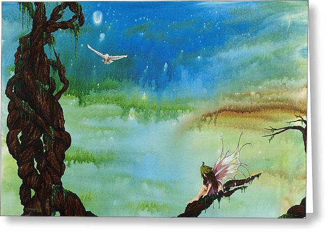 Lonesome Fairy Greeting Card by Deborah Ellingwood