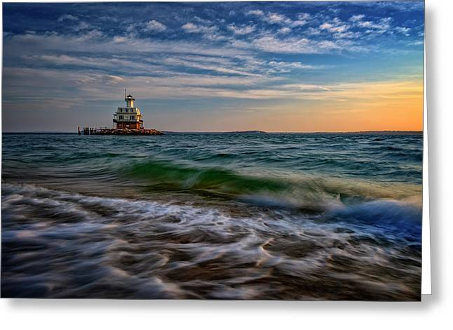 Long Beach Bar Lighthouse Greeting Card by Rick Berk