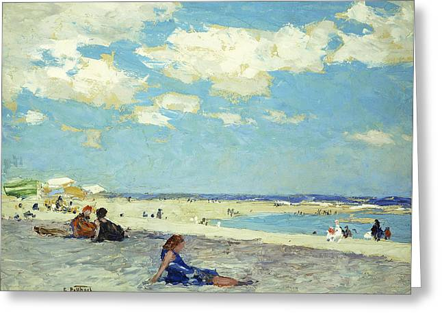 On The Beach Greeting Cards - Long Beach Greeting Card by Edward Henry Potthast