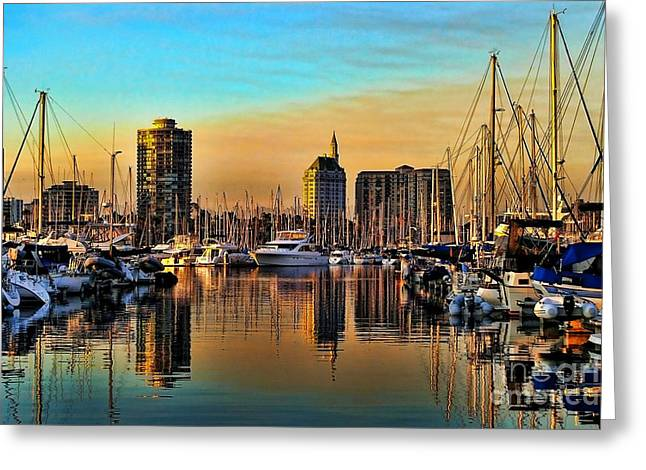 Hdr Landscape Greeting Cards - Long Beach Harbor Greeting Card by Mariola Bitner