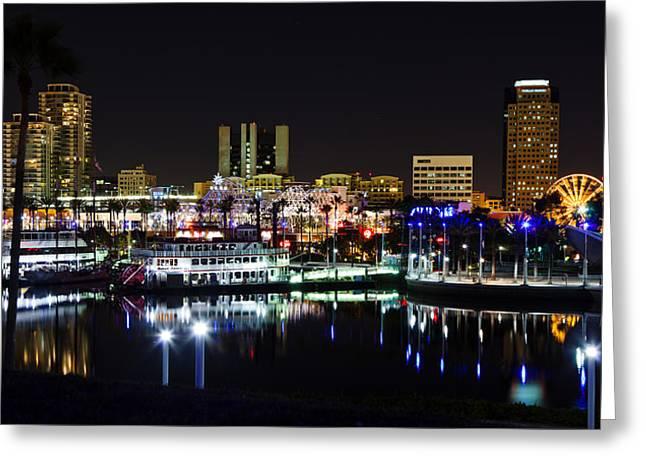 Adam Pender Greeting Cards - Long Beach Lights Greeting Card by Adam Pender