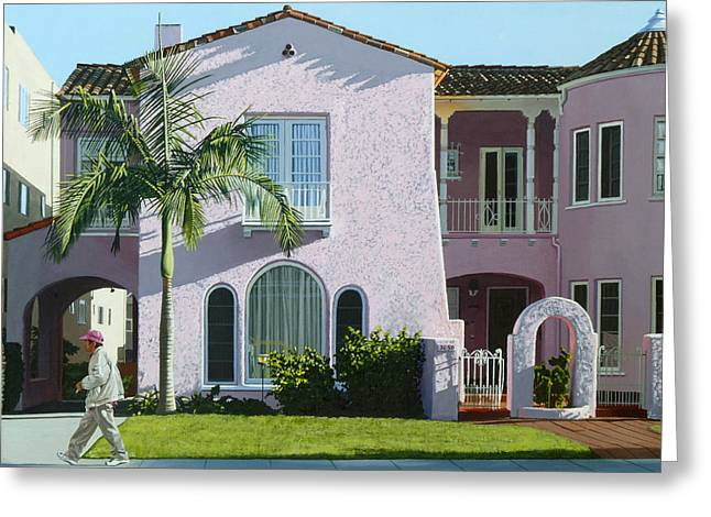 Photorealism Greeting Cards - Long Beach Pink Greeting Card by Michael Ward