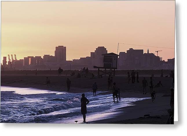 Beach Sunsets Pyrography Greeting Cards - Long beach Sunset Greeting Card by Colin Houck