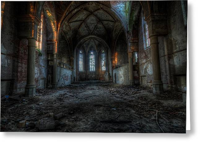 Ghostly Greeting Cards - Long dark church Greeting Card by Nathan Wright