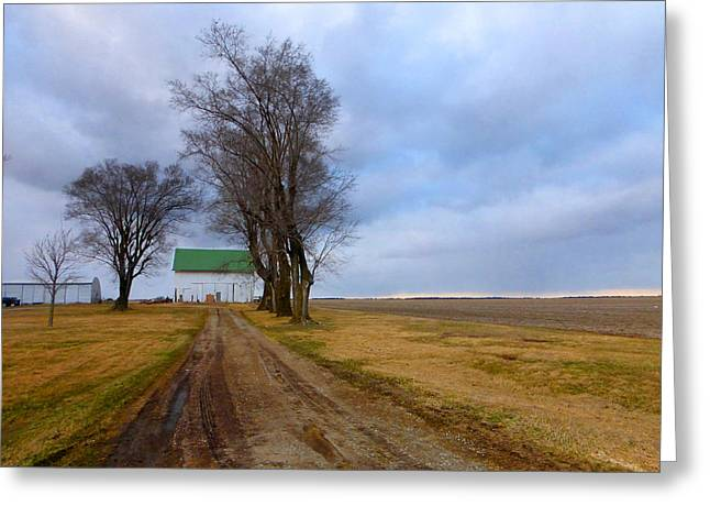 Lawn Chair Greeting Cards - Long Driveway To The Green Roof Barn Greeting Card by Tina M Wenger
