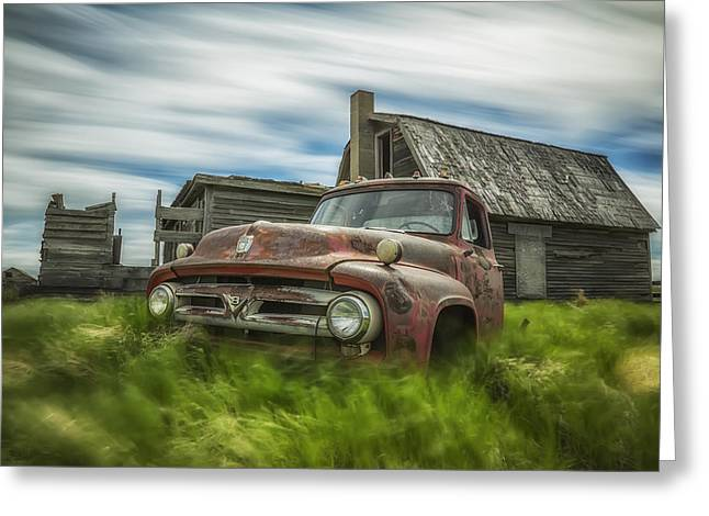 Old Barns Greeting Cards - Long Exposure Of Clouds Drifting Greeting Card by Robert Postma