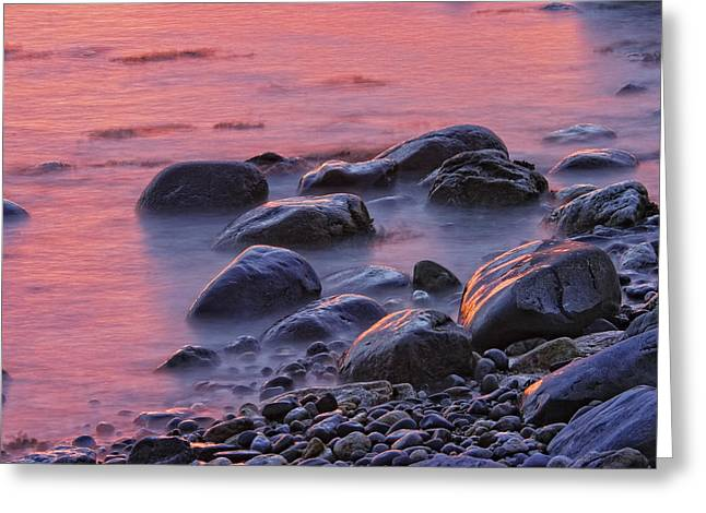Maine Beach Greeting Cards - Long Exposure of Colorful Ocean waves at Sunset. Greeting Card by Keith Webber Jr