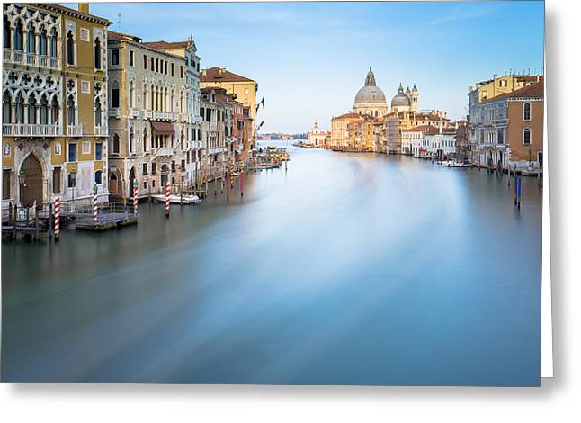 Gondolier Greeting Cards - Long exposure of grand canal in Venice Italy Greeting Card by Nattee Chalermtiragool