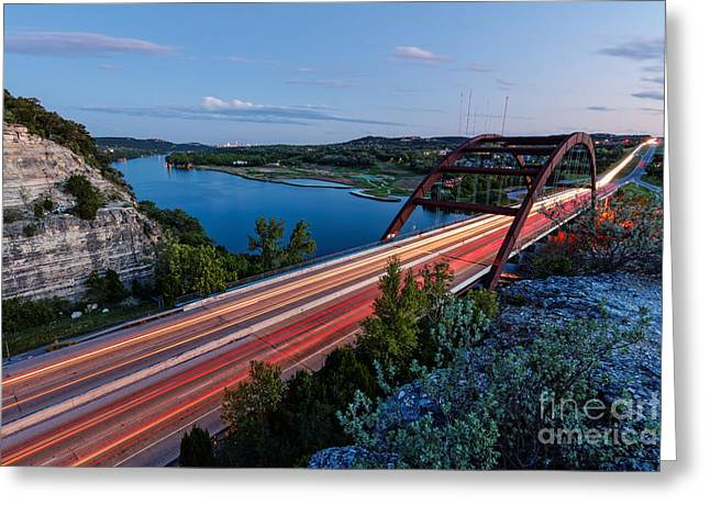 Long Exposure View Of Pennybacker Bridge Over Lake Austin At Twilight - Austin Texas Hill Country Greeting Card by Silvio Ligutti