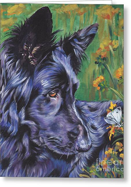 German Shepard Dogs Greeting Cards - Long Hair Black German Shepherd Greeting Card by Lee Ann Shepard