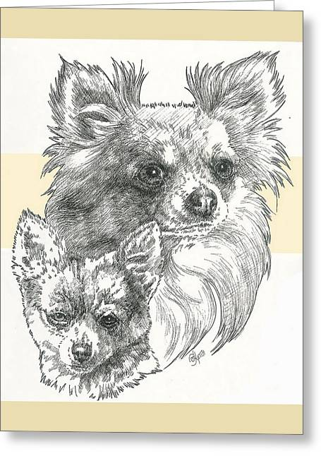 Toy Dogs Mixed Media Greeting Cards - Long-Haired Chihuahua Greeting Card by Barbara Keith