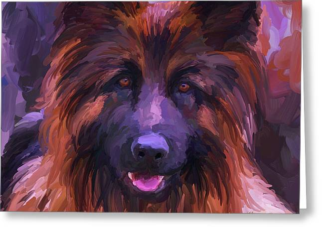 Guard Dog Paintings Greeting Cards - Long Haired German Shepherd - Square Greeting Card by Jai Johnson
