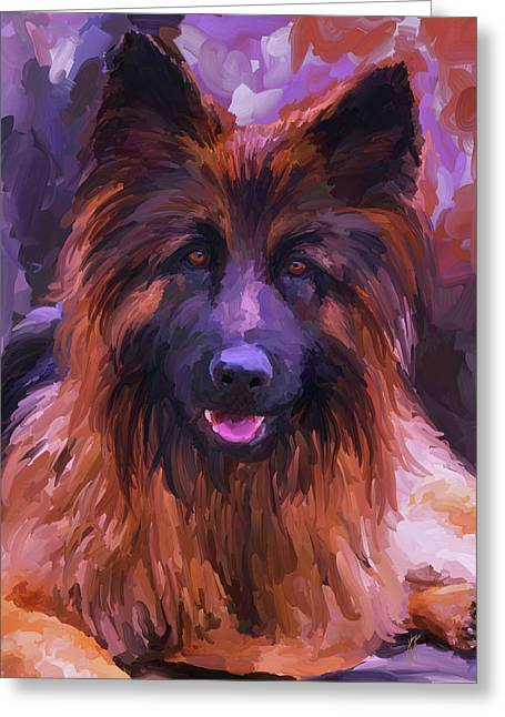 Guard Dog Paintings Greeting Cards - Long Haired German Shepherd Greeting Card by Jai Johnson
