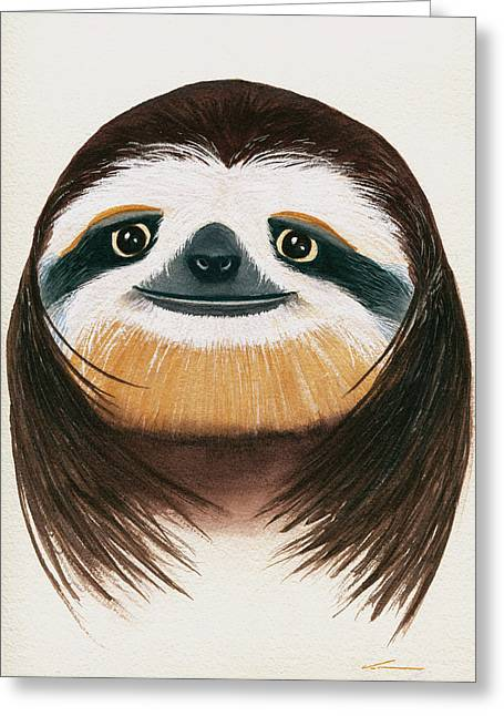 Long-haired Sloth Greeting Card by Francisco Ventura Jr
