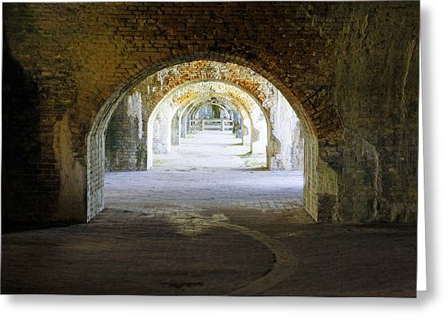 Civil War Battle Site Greeting Cards - Long Hall at Fort Pickens Greeting Card by Laurie Perry