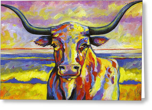 Horned Animals Greeting Cards - Long Horn at Sunset Greeting Card by Leanne Wilkes