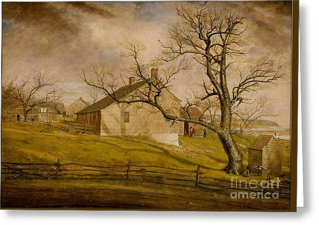 Long Island Paintings Greeting Cards - Long Island Farmhouses  Greeting Card by Celestial Images