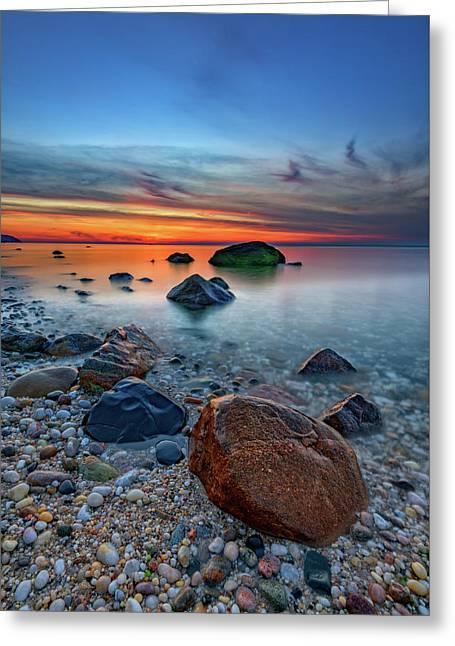 Long Island Sound At Dusk Greeting Card by Rick Berk