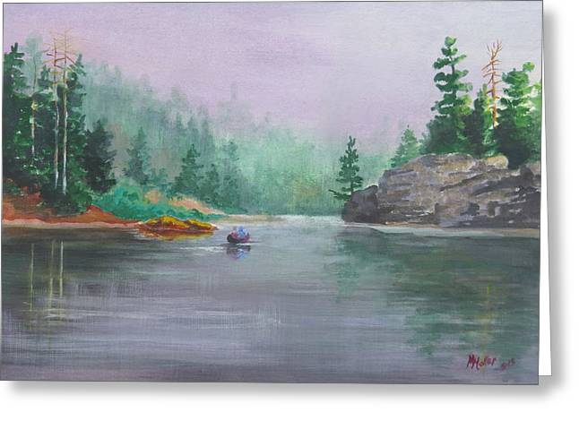 Canoe Pastels Greeting Cards - Long Lake Greeting Card by Marcus Moller