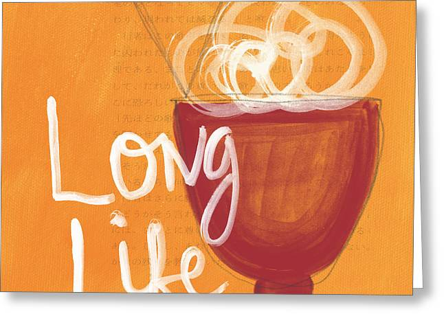 Ceramic Greeting Cards - Long Life Noodle Bowl Greeting Card by Linda Woods