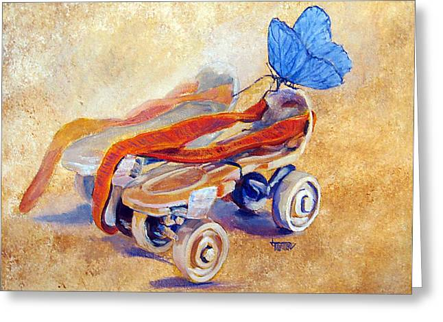 Rollerskate Greeting Cards - Long Long Ago Greeting Card by Jimmie Trotter