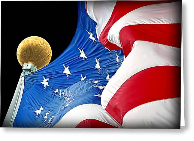 U.s. Flag Greeting Cards - Long May She Wave the American Flag Greeting Card by Jennie Marie Schell