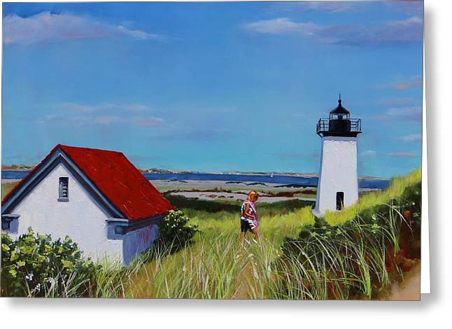 Massachussetts Greeting Cards - Long Point Light Two Greeting Card by Laura Lee Zanghetti