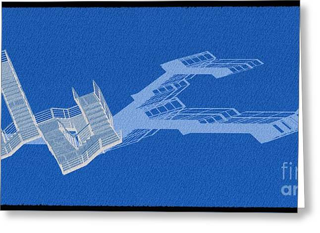 Long Shadow Of Stair 41 Negative Blue Greeting Card by Pablo Franchi