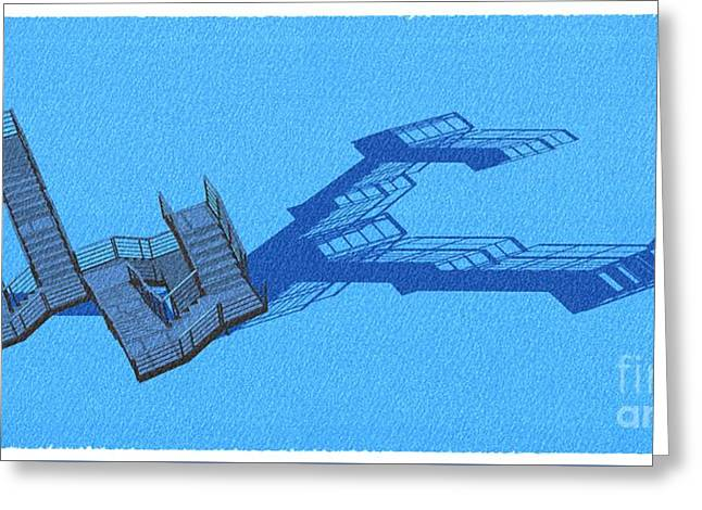 Long Shadow Of Stair 42 Negative Blue Architect Architecture Greeting Card by Pablo Franchi