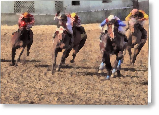 Race Horse Greeting Cards - Long Shot Greeting Card by Naman Imagery
