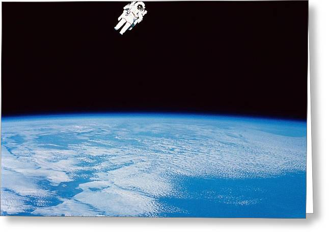 Terra Colors Greeting Cards - Long Shot Of Astronaut In Space Greeting Card by Stocktrek Images