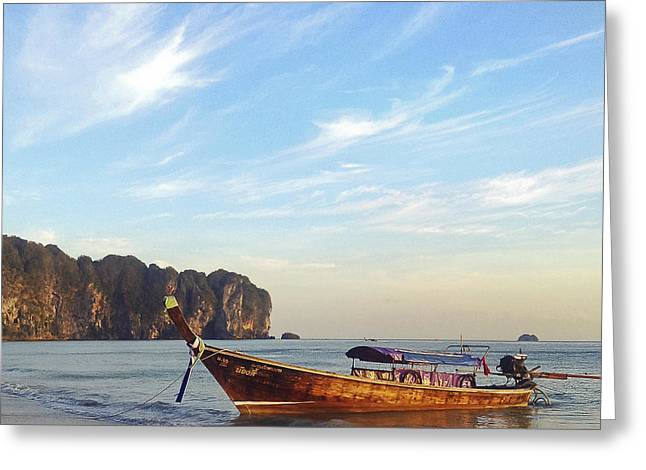 Greeting Cards - Long Tail boat Krabi Thailand Greeting Card by Ivy Ho