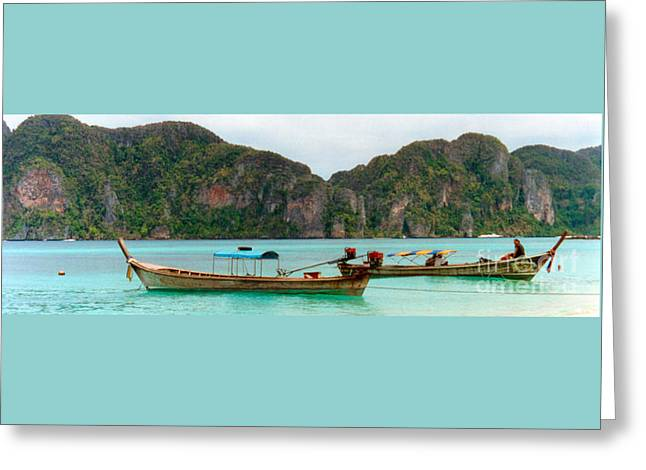 Kim Photographs Greeting Cards - Long Tail Boats At Phi Phi Greeting Card by Kim Magee  Photography
