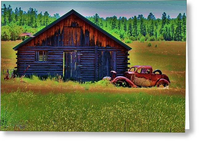 Rusted Cars Greeting Cards - Long Term Parking Greeting Card by Helen Carson