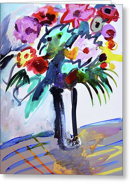 Long Vase Of Red Flowers Greeting Card by Amara Dacer