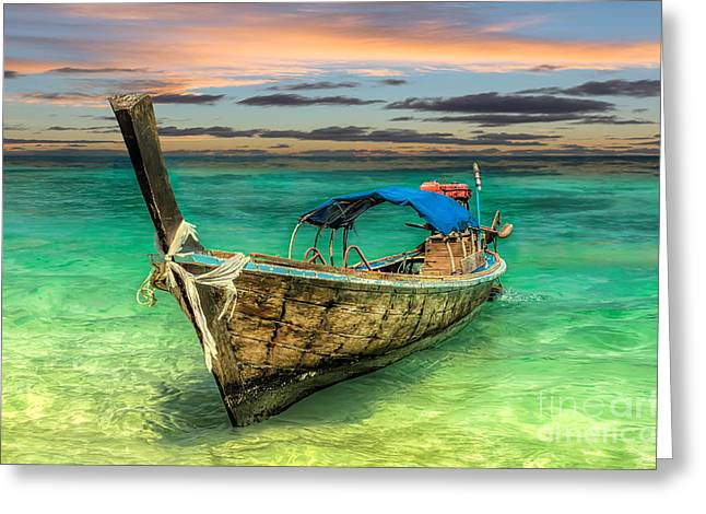 Longboat Sunset Greeting Card by Adrian Evans