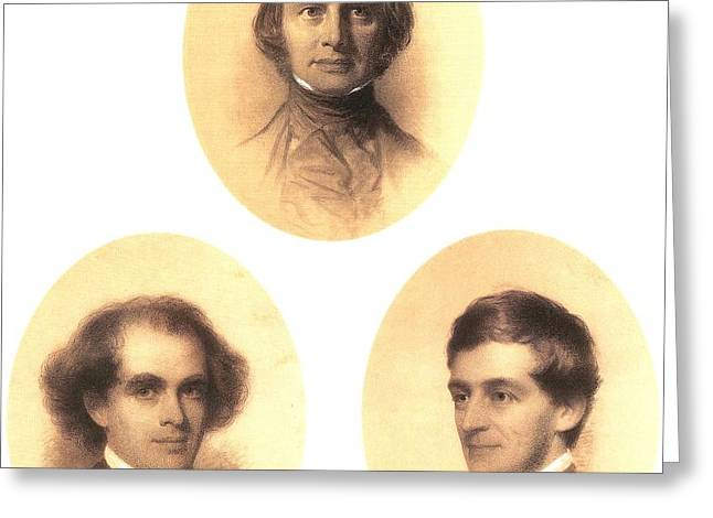 Johnson Mixed Media Greeting Cards - Longfellow - Hawthorne - Emerson  Greeting Card by Pg Reproductions