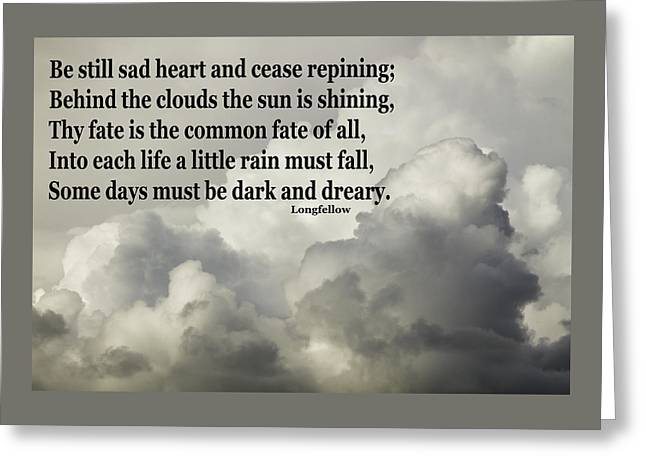 Storm Digital Art Greeting Cards - Longfellow Quote Clouds Building Before Storm Greeting Card by Keith Webber Jr