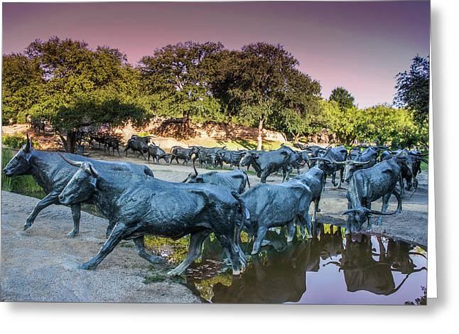 Longhorn Cattle Sculpture In Pioneer Plaza, Dallas Greeting Card by Art Spectrum
