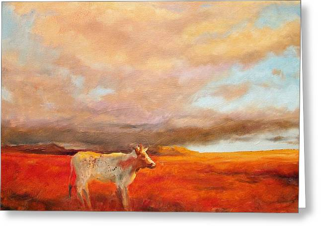 Gloaming Paintings Greeting Cards - Longhorn Greeting Card by Margaret Aycock