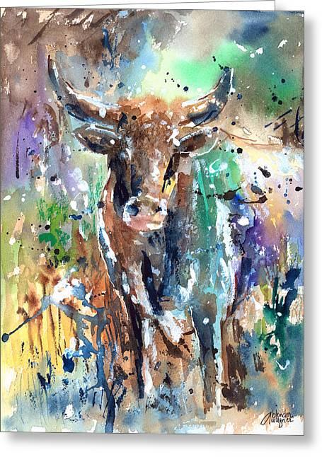 Longhorn Steer Greeting Card by Arline Wagner