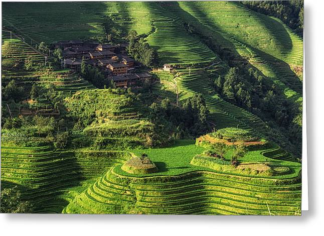 Layers Greeting Cards - Longi rice terrace Greeting Card by Insung Choi