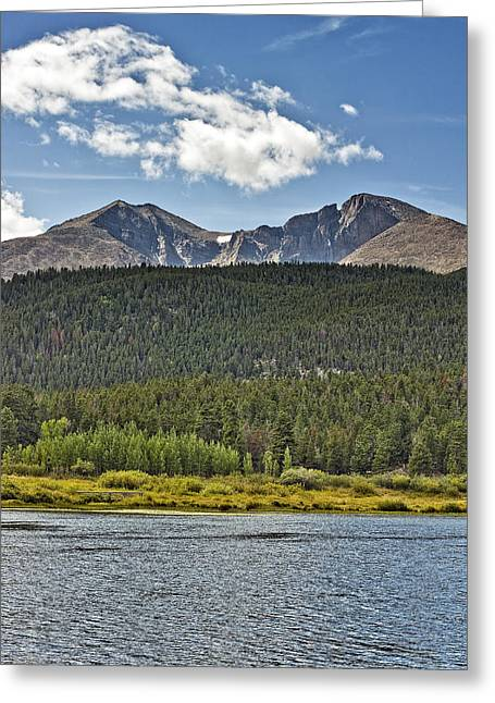 Longs Peak And Mount Meeker Above Lily Lake In Rocky Mountain National Park Colorado Greeting Card by Brendan Reals
