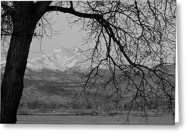 Commercial Space Greeting Cards - Longs Peak and Mt. Meeker the Twin Peaks Black and White Photo I Greeting Card by James BO  Insogna