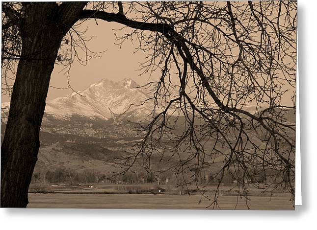 Bw Canvas Art Greeting Cards - Longs Peak and Mt. Meeker Twin Peaks Black and White Sepia Photo Greeting Card by James BO  Insogna