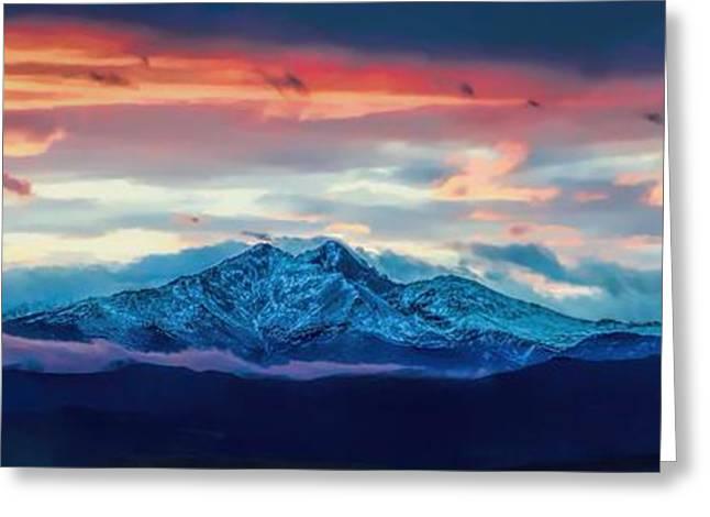 Jon Burch Photography Greeting Cards - Longs Peak at Sunset Greeting Card by Jon Burch Photography
