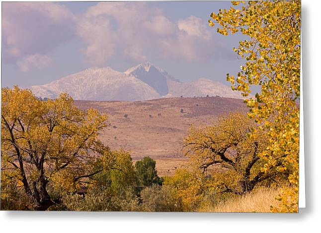 Lightning Gifts Greeting Cards - Longs Peak Diamond Autumn Shadow Greeting Card by James BO  Insogna