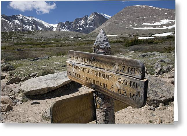 Geological Formations Greeting Cards - Longs Peak Seen From Chasm Lake Trail Greeting Card by Scott S. Warren